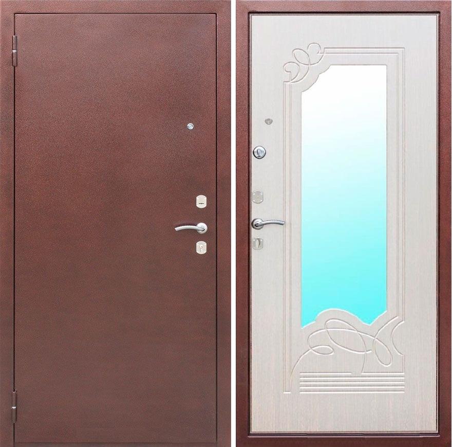 входная дверь с зеркалом дуб